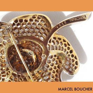 Boucher Jewelry - Marcel Boucher Rose Flower Rhinestone Brooch Pin